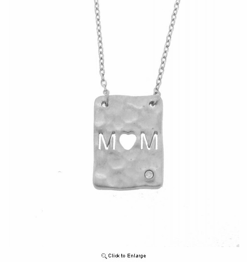 "Silver with Diamond ""Mom"" Rectangular Pendant Necklace"