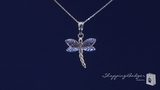 """Small 14K White, Yellow, & Rose Gold Dragonfly Necklace, 17"""""""