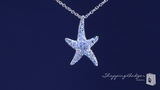 Small Cubic Zirconia Starfish Necklace in Sterling Silver, 16""