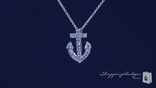 "Small CZ Anchor Pendant Necklace set in Sterling Silver, Adjustable 16""-18"""