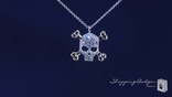 "Small CZ Skull & Cross Bones Pendant Necklace in Sterling Silver, Adjustable 16""-18"""