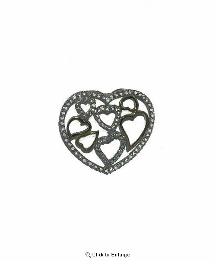 Small Hearts Inside a Silver CZ Heart