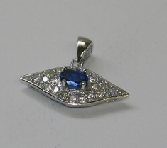 Small Pave CZ and Blue Zirconia Silver Pendant Necklace