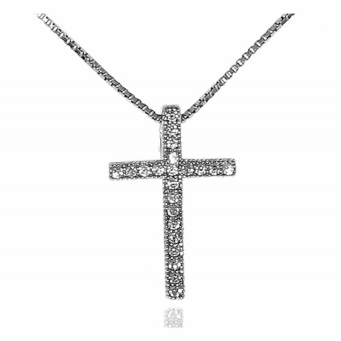 Small Pave CZ Cross Pendant in Sterling Silver, Adjustable 16
