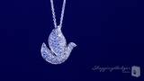 "Small Pave CZ Dove Necklace in Sterling Silver, Adjustable 16""-18"""