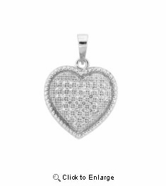 Small Pave CZ Heart Necklace in Sterling Silver, 18""