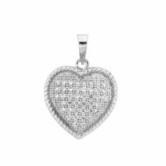 Small Pave CZ Heart Necklace in Sterling Silver, 18