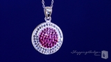 Small Round Pink and White Crystal Pendant Necklace in Sterling Silver, 18""