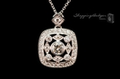 Square Antique Filligree CZ Pendant