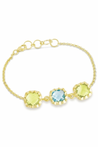Square Lemon Quartz And Blue Topaz Bracelet in Sterling Silver