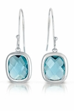 Square Small Blue CZ Drop Earrings