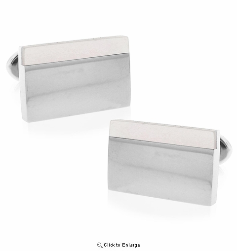 Stainless and Brushed Steel Two-tone Cufflink