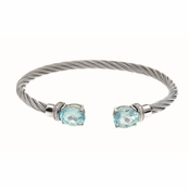 Montreaux Stainless Steel and Silver Cuff Bangle with Oval Blue Topaz and Diamond