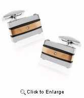 Steel Cufflink with Brushed Copper and Black Onyxite