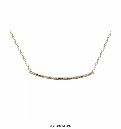 Sterling Silver Bar Necklace with CZs