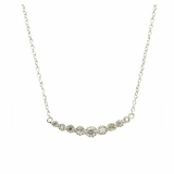 Sterling Silver Bar Necklace with Graduated CZs