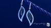 Sterling Silver Black & White CZ Leaf Drop Earrings