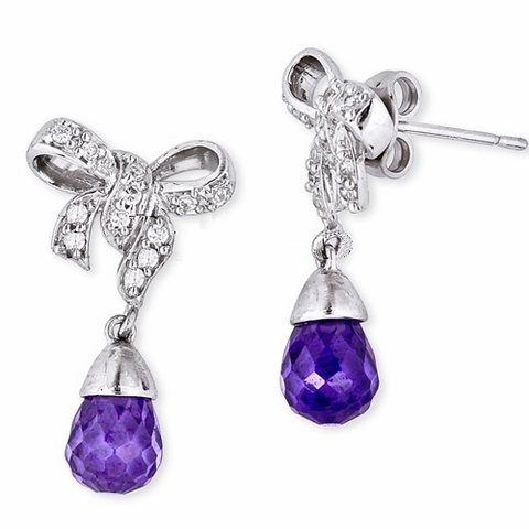 Sterling Silver Bow Amethyst Drop Earring