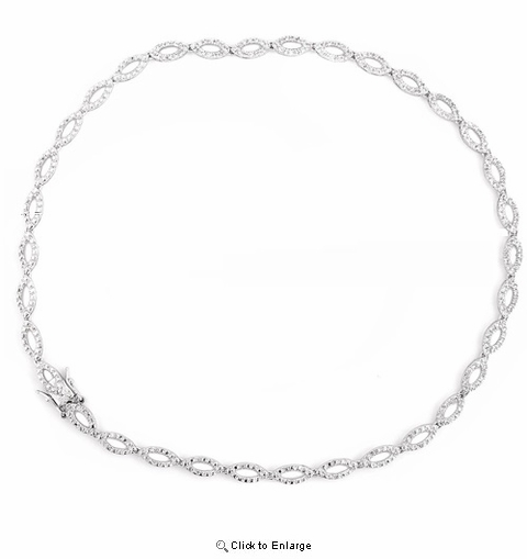 Sterling Silver Cubic Zirconia Braided Necklace