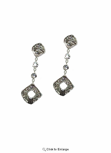 Sterling Silver Cubic Zirconia Star Drop Earrings