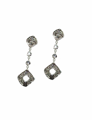 Sterling Silver Cubic Zirconia Star Drop Earrings - Free Shipping|ShoppingBadger.com