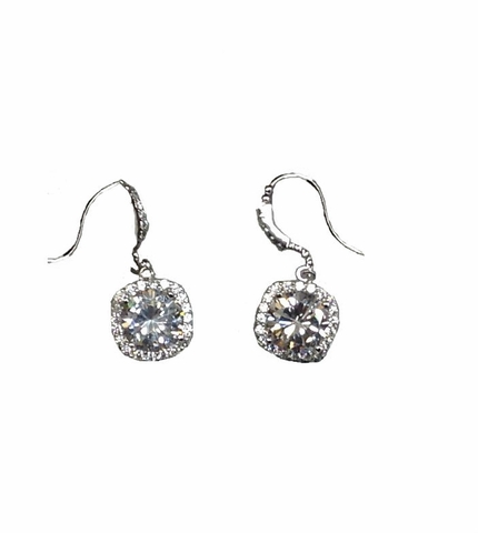Sterling Silver Cubic Zirconia Vintage Style Earrings - Free Shipping|ShoppingBadger.com
