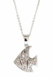 Sterling Silver CZ Angel Fish Necklace