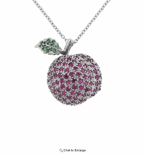 "Sterling Silver CZ Apple Pendant Necklace, Adjustable 16""-18"""