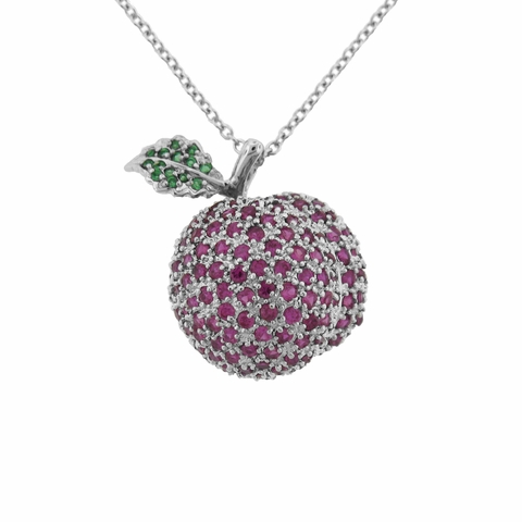 Sterling Silver CZ Apple Pendant Necklace, Adjustable 16