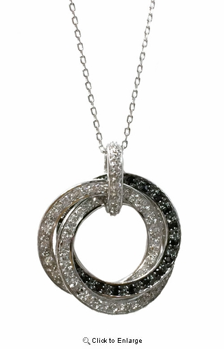 Sterling Silver CZ Circle of Love Pendant Necklace