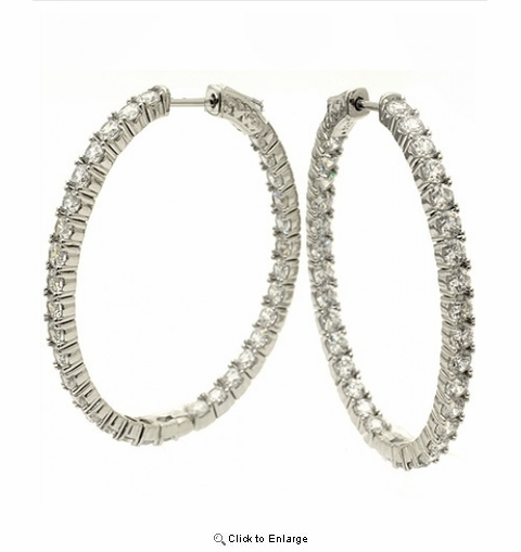 Sterling Silver CZ Hoop Earrings