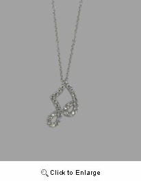 Sterling Silver CZ Musical Note Necklace