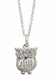Sterling Silver CZ Owl Necklace