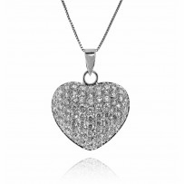 Sterling Silver CZ Pave Heart Pendant Necklace, 16