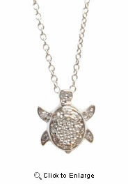 Sterling Silver CZ Sea Turtle Necklace