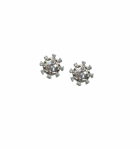 Sterling Silver CZ Snowflake Stud Earrings - Free Shipping|ShoppingBadger.com