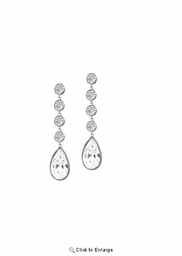 Sterling Silver CZ Swing Drop Earrings