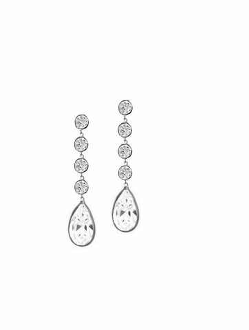Sterling Silver CZ Swing Drop Earrings - Free Shipping|ShoppingBadger.com