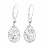 Sterling Silver Dangling Pear-shaped CZ Earrings