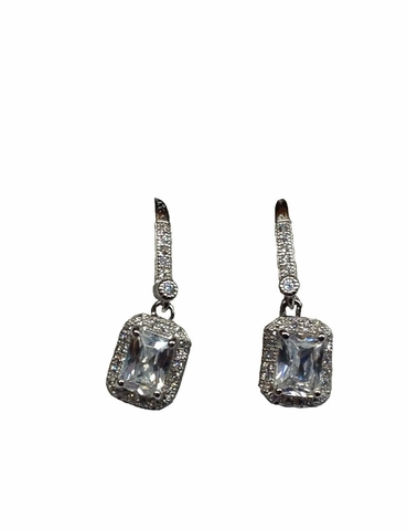 Sterling Silver Diamond Cubic Zirconia Earrings - Free Shipping|ShoppingBadger.com