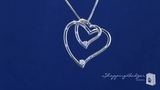 Sterling Silver Double Open Heart Pendant Necklace with Diamonds
