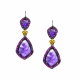 Phillip Gavriel Sterling Silver Fleur de Lis Amethyst Earrings