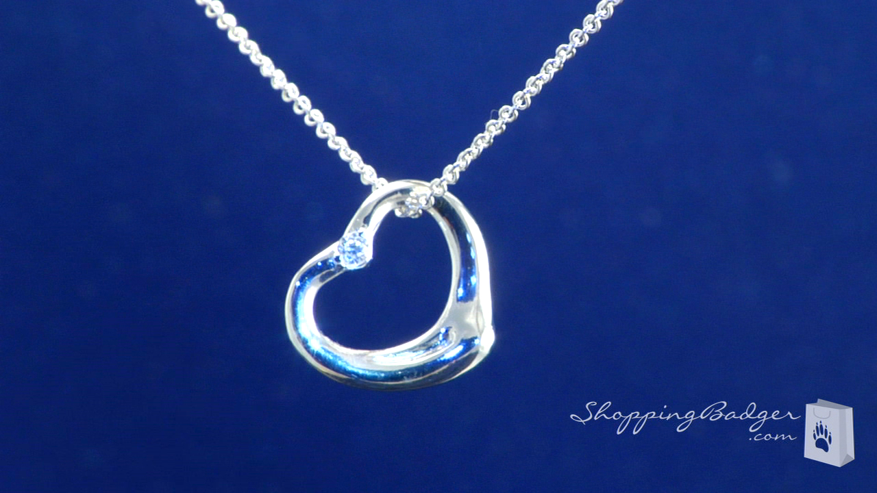 Sterling silver floating heart pendant necklace with cz sterling silver floating heart pendant necklace with cz mozeypictures Image collections