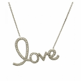 Sterling Silver Love Pendant with CZs