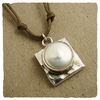Sterling Silver Pearl Square Pendant Necklace