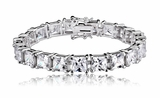 Sterling Silver Princess-Cut CZ Tennis Bracelet