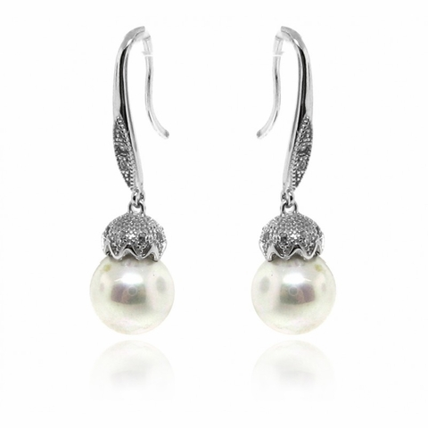Sterling Silver Vintage Style CZ Pearl Drop Earrings - Free Shipping|ShoppingBadger.com