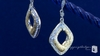 Sterling Silver Woven Gold Vermeil CZ Drop Earrings