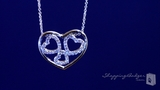 "Three CZ Hearts Within an Open Heart Necklace in Sterling Silver, Adjustable 16""-18"""