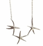 Three Starfish Silver Necklace